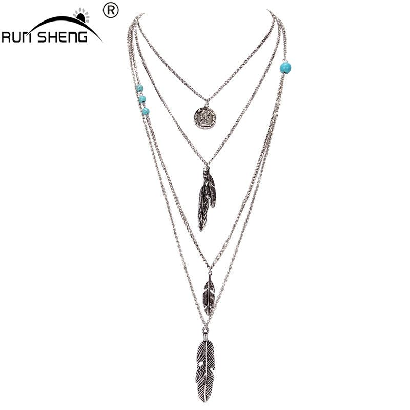 RUNSHENG Hot Sale Leaf Choker Collar Maxi Necklaces & Pendants Long Chain Multilayer Necklace For Women Collier Jewelry