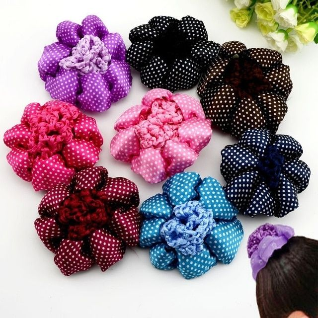1PCS Shiny Girl Women Bun Cover Snood Hair Net Nets Ballet Dance Skating Crochet Snoods Hair Accessories