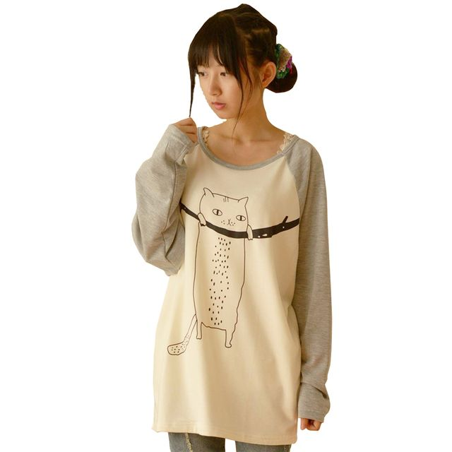 Mori Girl Sweet Cat Long Sleeve Pathcwork T Shirt Women Japanese 2016 New Spring Summer Cotton Soft Top Loose Shirt