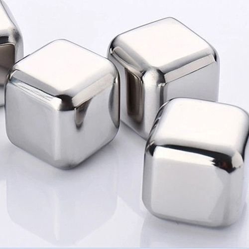 Best 4Pcs Stainless Steel Ice Cubes Cool Glacier Rock Neat Drink Freezer gel Wine Whiskey Stones Great Gift