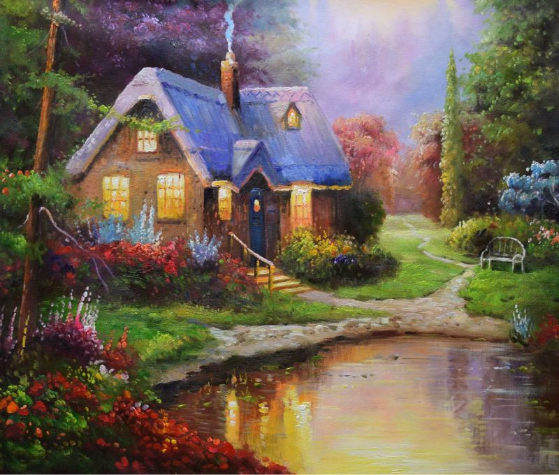 Hand Painted European Style Oil Canvas Painting Realist Forest House Landscape Oil Painting Wall Art Picture Painting  for Room