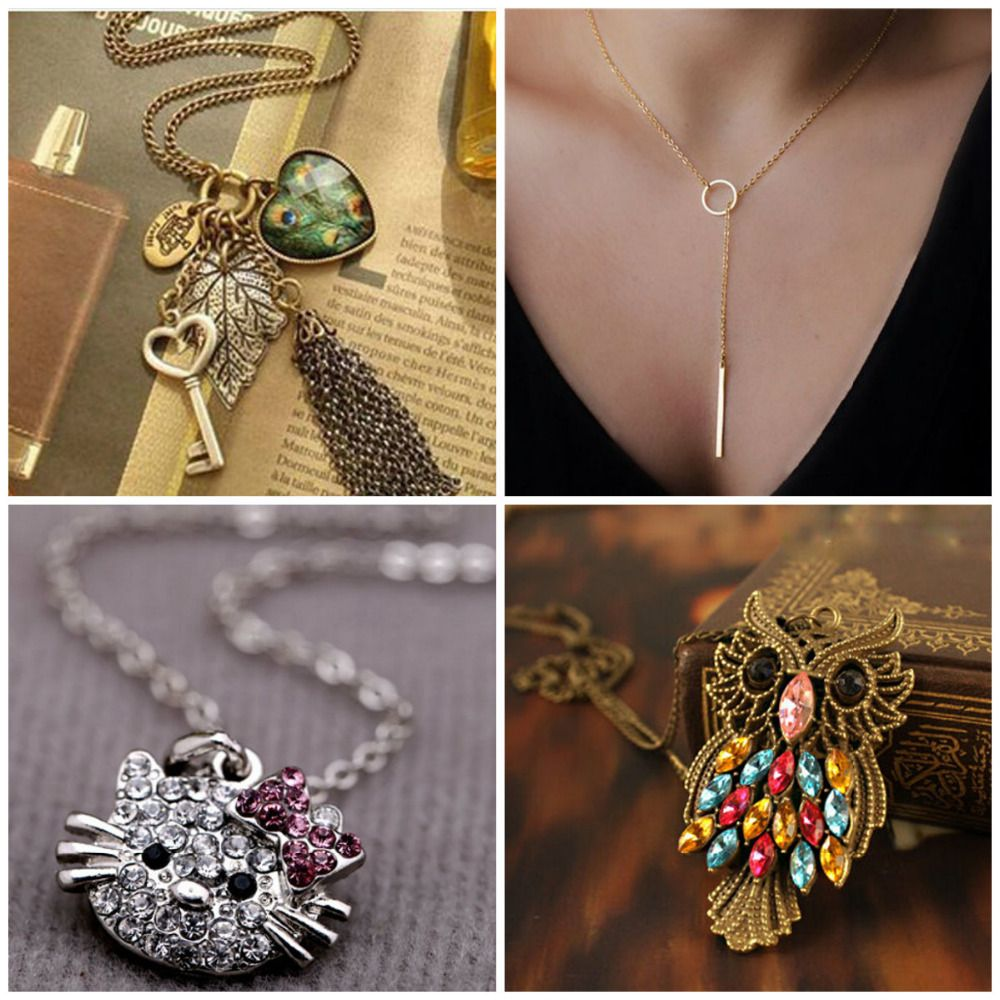 Factory Wholesale Fashion  Heart Leaf Leaves  Vintage Long Sweater Chain Key Peacock Pendant  Tassel Necklace
