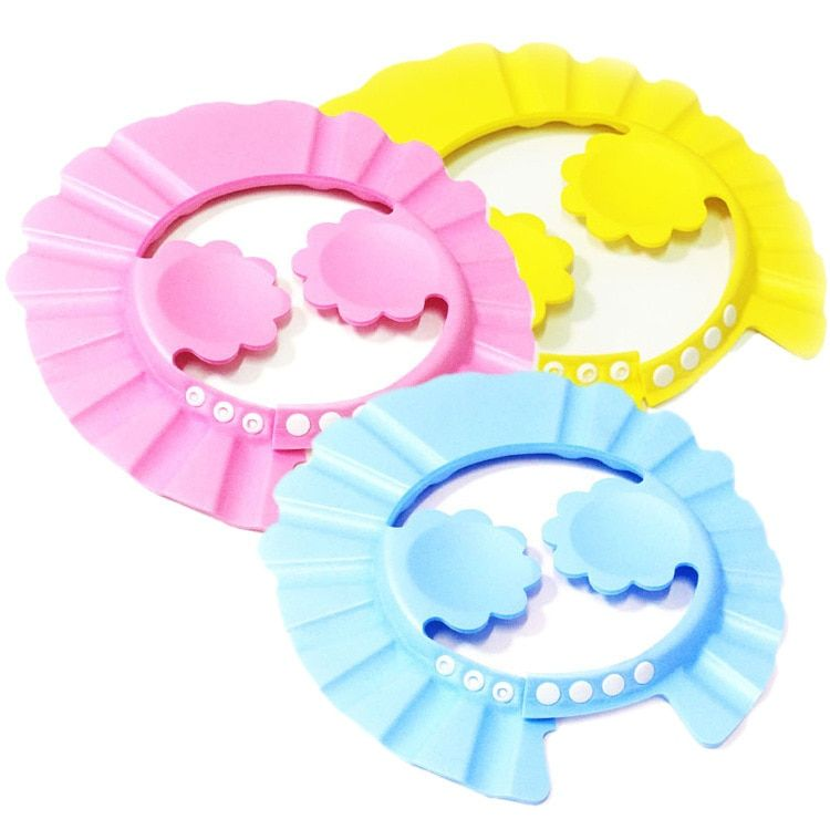 2 pieces baby hat dushevaya watering cansolid plastic resizable baby shower cap caps children hat Visor swimming baby caps TXY9