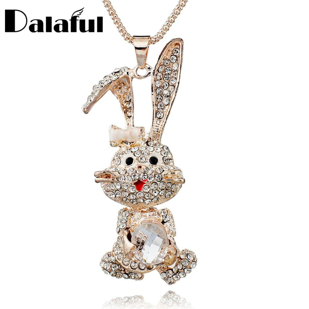 Pretty Bowknot Rabbit Shining Crystal Long Chain Sweater Necklaces & Pendants Necklace For Women M200