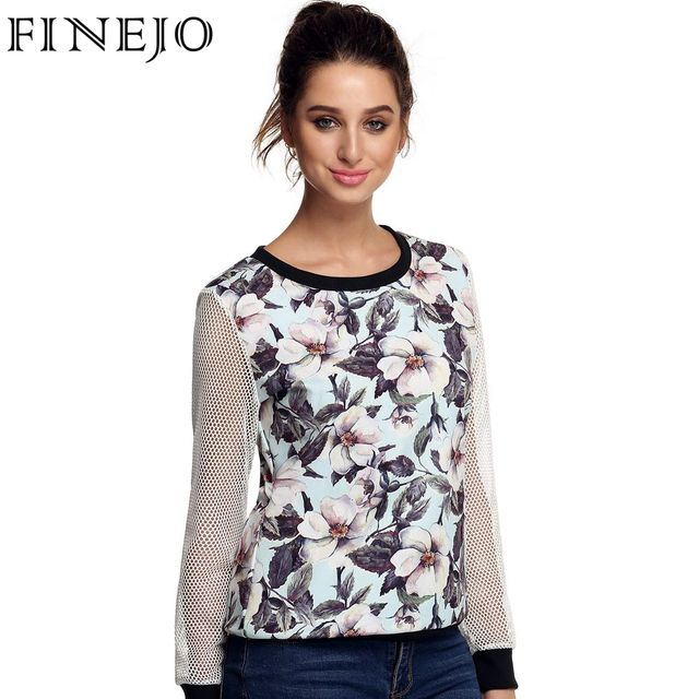 FINEJO 3D Print Floral Patchwork Sweatshirts Lady Fashion Casual Long Mesh Hollow Out Sleeve O Neck Top Loose Clothes M-3XL