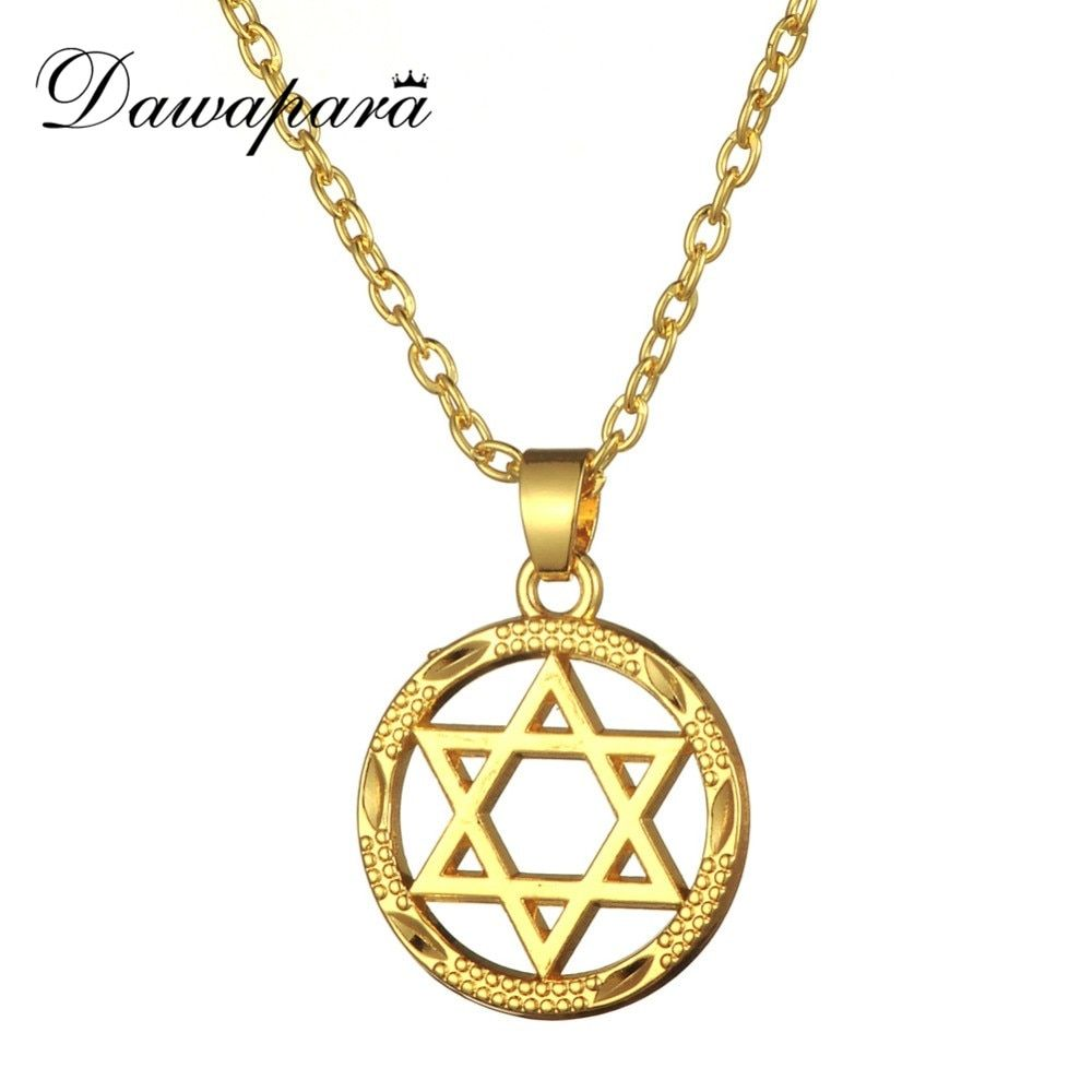 Dawapara Gold-color Men Star of David Necklace Magen David Pendant Judaica Jewish Jewelry