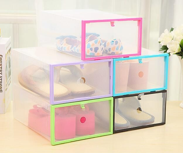 6PC Foldable Shoe Organizer Stackable Shoe Storage Box Clear Plastic Shoe Box Organizer Drawer Shoe Cabinet Make Up Organizer