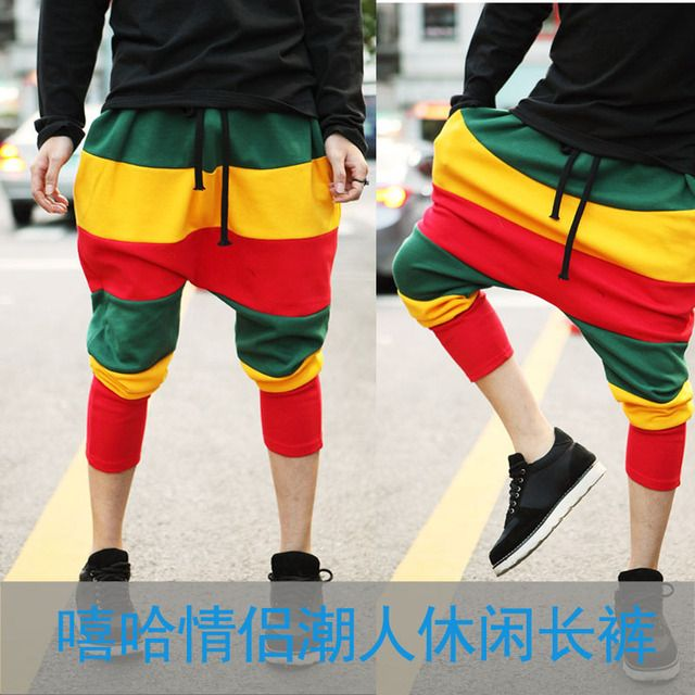 Spring Autumn Adult kids Jamaican Reggae Sweatpants striped Costumes Green Yellow Red Panelled Punk Harem Hip Hop Dance Pants