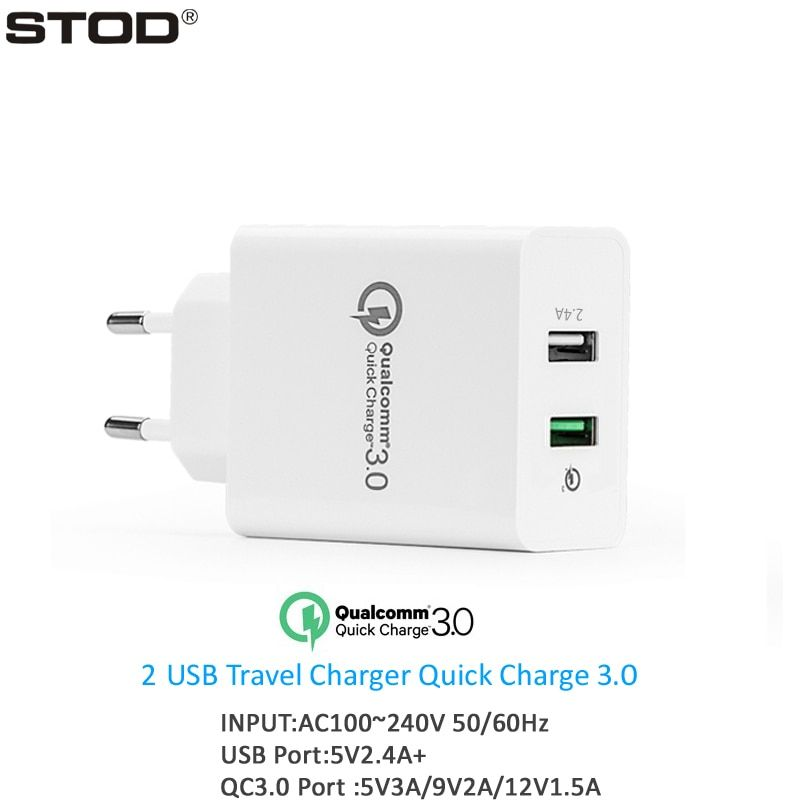 STOD Dual USB Charger 30W Quick Charge 3.0 2.4A Port For IPhone IPad QC3.0 Port For Samsung S6 Note 4 Edge Nexus 6 Wall Adapter