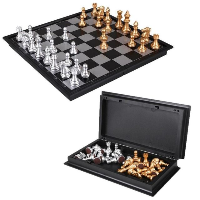 8 Inch Classic Checkers Chess Set Plastic Mini Board Game Foldable Silver Gold Chess Piece Party For Families Kid Party Portable
