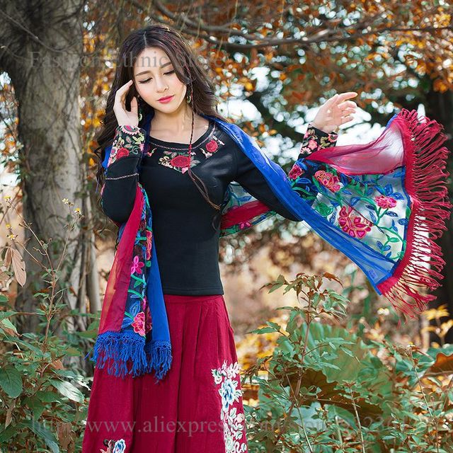 Women's Vintage boho Embroidery Tassel Chiffon Long Scarf Autumn Winter Wrap Shawl Scarves Ladies Stole