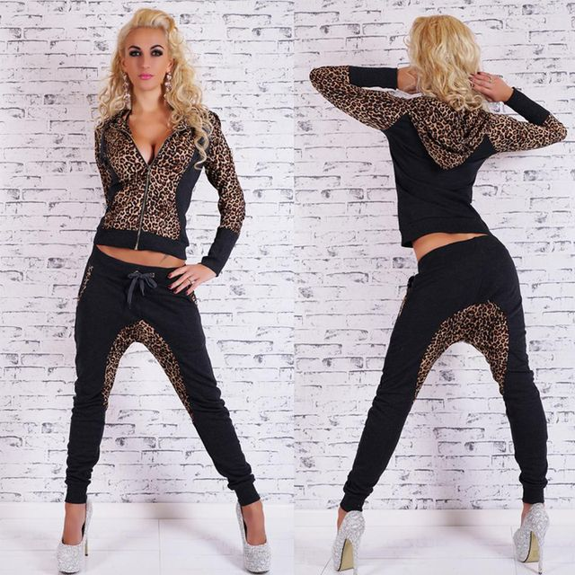 Women Tracksuit Autumn Winter Suit Fashion Women's Leopard Tracksuits Sets Long Sleeve Sexy Tops + Pants 2 Pieces Set N10011
