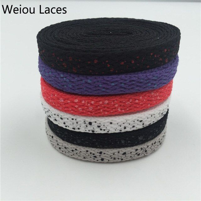(100 Pairs/Lot) Weiou Sports Shoelaces Splatter Flat Shoe Laces Custom White Shoelace Replacement Boot Laces Speckled Wholesales