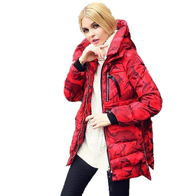 Jacket Women's Winter 2016 Loose Hooded Print Camouflage Thick Cotton Parka Plus Size Casual Snow Wear Femme Medium Long Parka