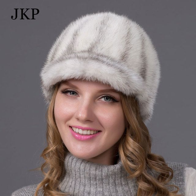 Genuine Winter 2017 Mink Fur Hat cap in women clothing Fur Headdress Warm Fashion Cap Hats Headgear