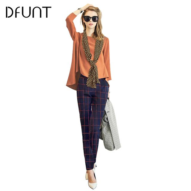 DFUNT Women Casual Autumn Femme Suits Solid Top+Plaid Pants+Scarf Three-piece Sets Korean Style Leisure Suits Plus Size S-2XL
