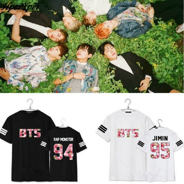 2017 Bts Bangtan Boys Tshirt Top Real Regular Letter Casual Unicorn Tops  In Bloom Rap Monster T-shirts Suga V Tee Beanie