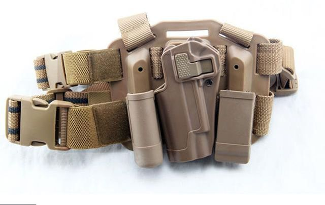 Tactical Drop Leg Left Hand Holster With Magazine Flashlish Pouch for Colt M1911 Tan-MH057