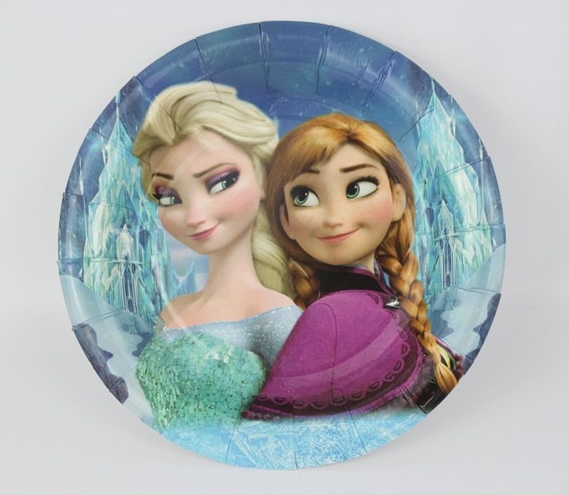 "12pcs/lot 7"" Frozen Paper Plate 2015 New Hot Birthday Party Decoration Kids Freezing Event Party Supplies"