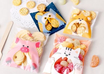 100PCS Cute Animals Candy Cake Biscuits Cookies Packaging Bags Self-adhesive Plastic Gifts Bags Party Birthday Snack Baking