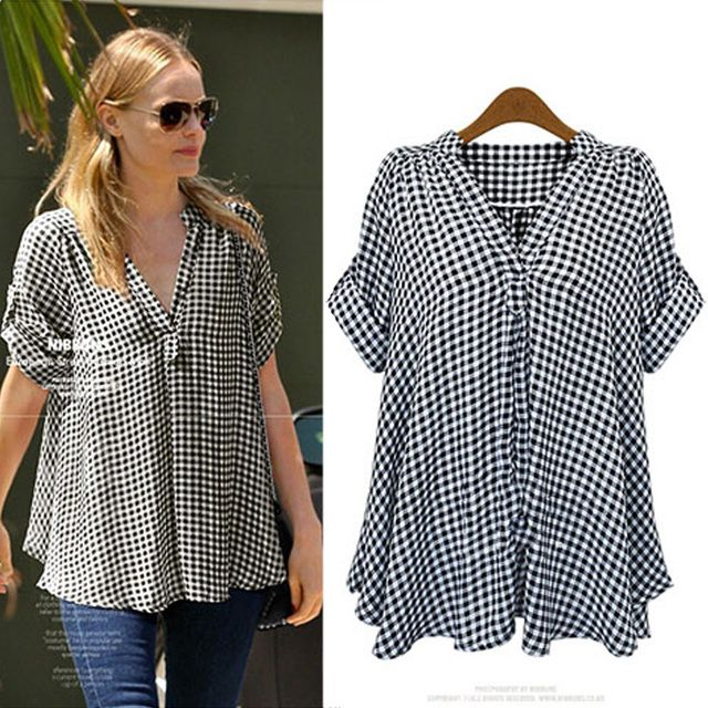 XXXL 4XL 5XL Plus Size Women Shirts 2016 Summer Fashion Black and White Plaid V-neck Batwing Short Sleeve Loose Casual Blouse