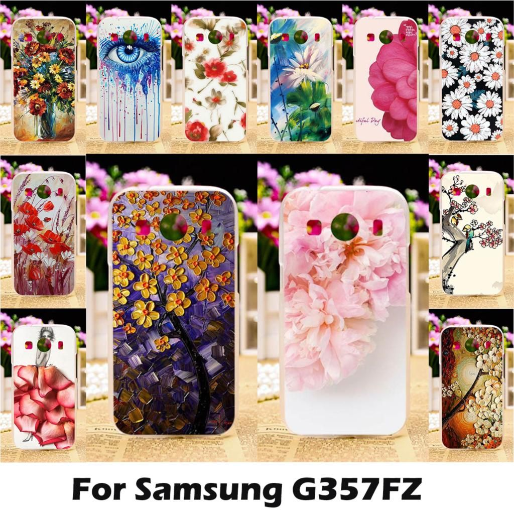 Ojeleye Mobile Phone Cases For Samsung Galaxy Ace 4 LTE G357FZ 4.3 Inch Ace Style Cover Soft TPU Painting Flowers Bags Skin