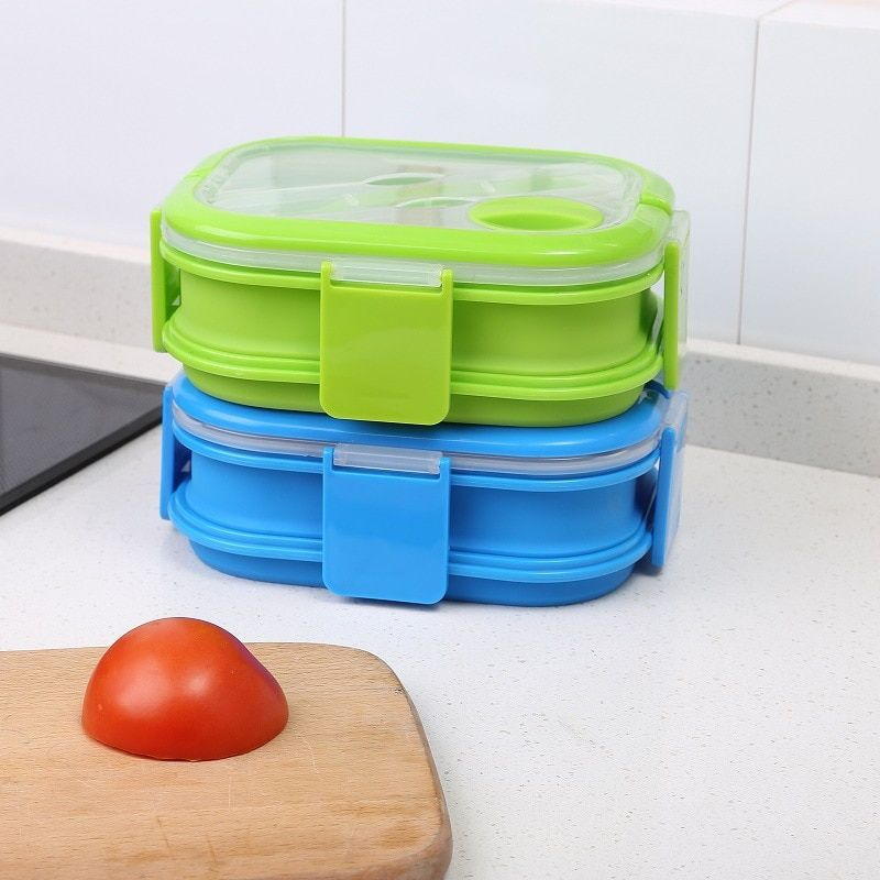 1500ML 2 Layers Collapsible Silicone Bento Lunch  With Fork Microwave Freezer Safe Foldable Food Container CFT082