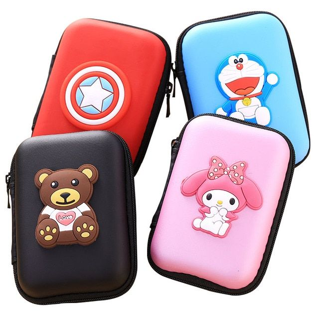 Rectangle Cartoon Zipper Earphone Bag Headphone Box Bag SD Cable Hold Case Earbud Card Carrying Hard Pouch Storage Case 14*8*4cm