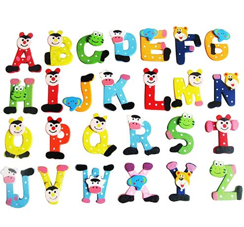 Wood 26 Alphabet Letters Fridge Magnets Baby Educational Learning Toys Wall Stickers Decorative Refrigerator Board Home Decor