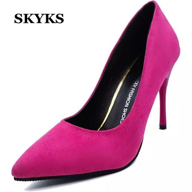 SKYKS spring summer women sexy thin High heels pointed toe japanned leather shallow mouth Black Red blue woman high-heeled shoes