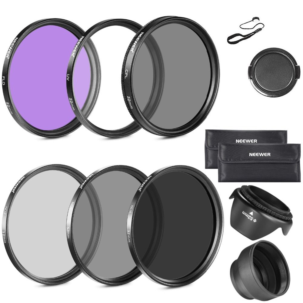 Neewer 52MM Lens Filter Accessory Kit for NIKON D7100/D7000/D5300/D5200/D5100/D5000/D3300/D3200/D3100/D3000/D90/D80 DSLR Cameras