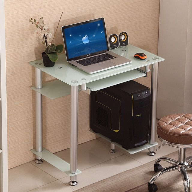 Simple desk home computer desk Glass Top Modern Computer  Table small Office Furniturewriting desk Laptop desk