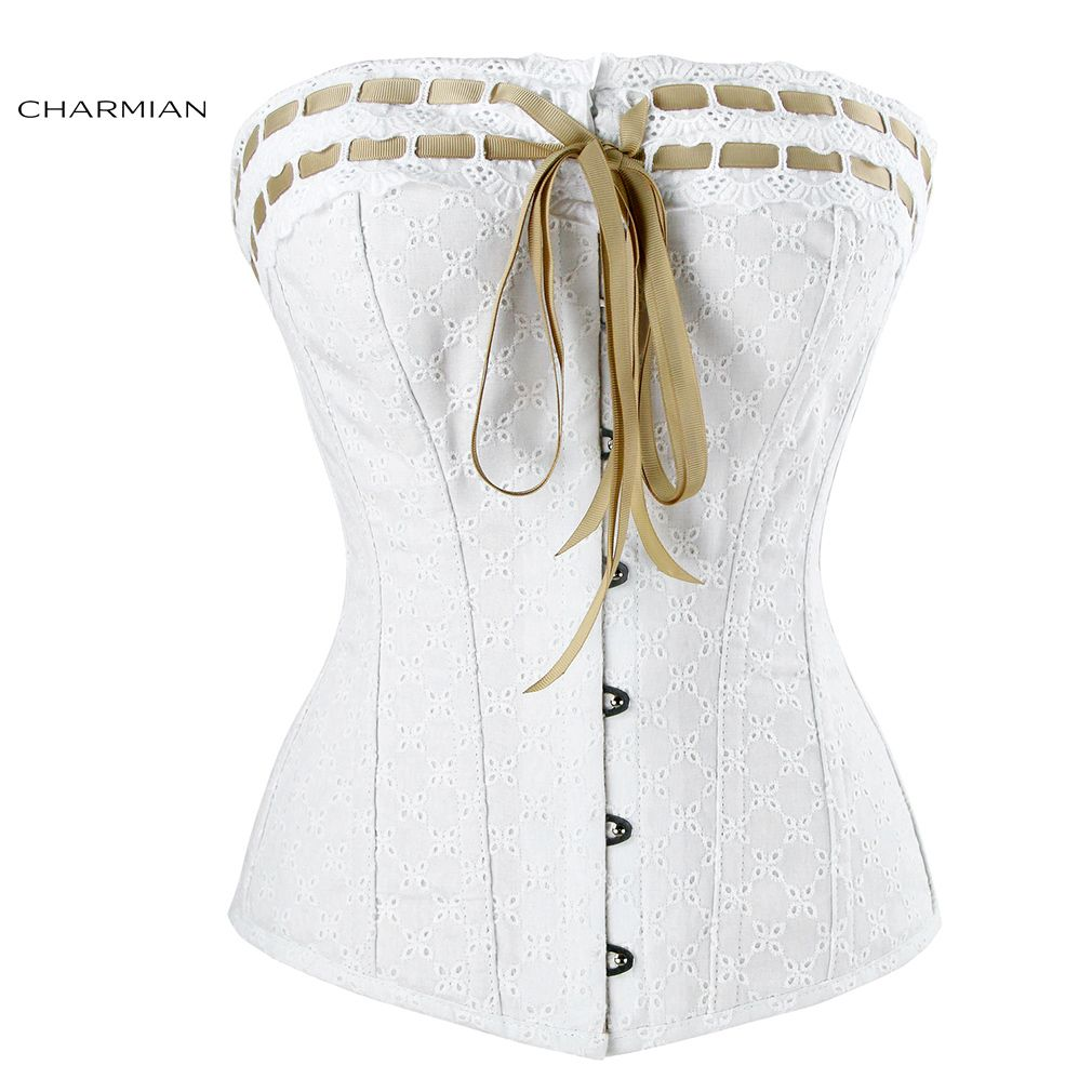 Charmian Women's Sexy Victorian Vintage Lace Corset with Ribbon Lace Trim White Bridal Corsets and Bustiers Body Shaper Corselet