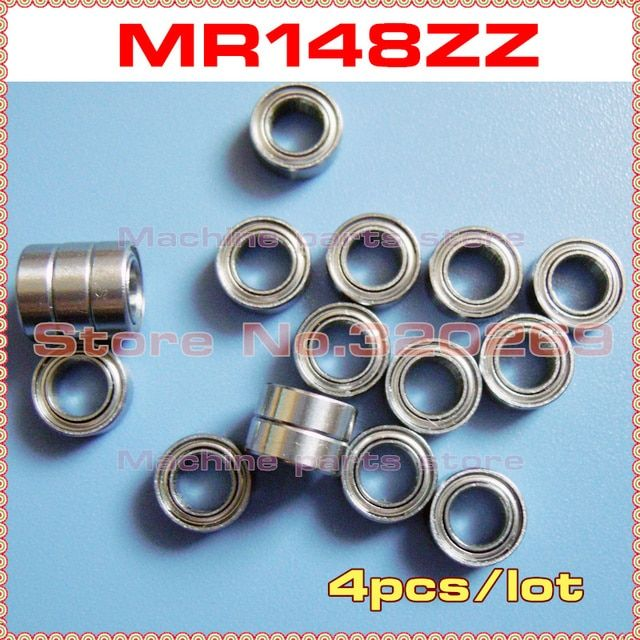 4pcs radial shaft ball bearing MR148ZZ 8*14*4 8x14x4mm metal shield MR148Z ball bearing