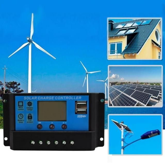 10A/20A/30A 12V/24V PWM Solar Controller,LCD Display Solar Cell Panel Charge Battery for Solar Power System for Home Use