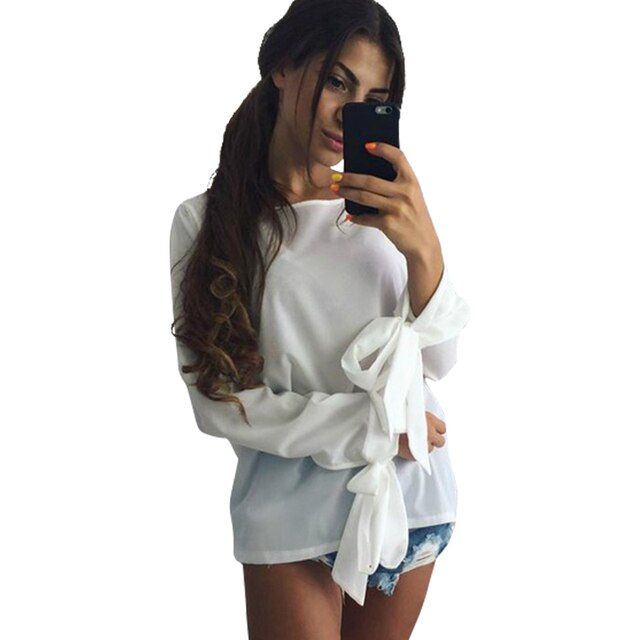 Sexy Elegant Women Fashion Moda 2016 Autumn Chiffon Blouse Long Sleeve Crop Top Tee Shirt Femme Vintage Bow Retro Blusas LJ5210U