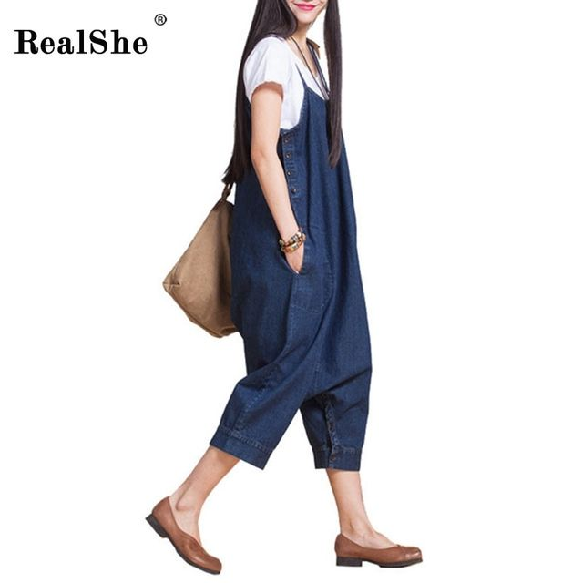 RealShe Autumn Women's Korean Vogue Loose Casual Jumpsuit For Woman Fashion Blue Spaghetti Strap Autumn Korean Rompers