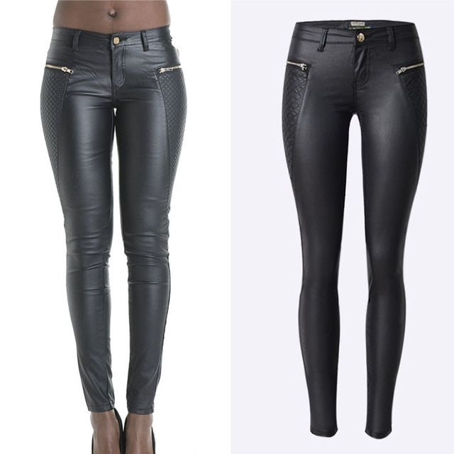 CLONOP Europe And American Popular Low Waist Coating Imitation Leather Embroidery Zipper Feet Pants Pancil Pants A6850