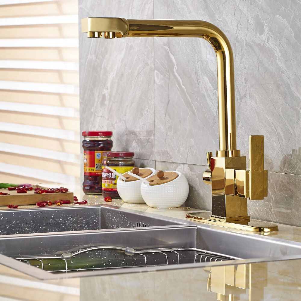 Newly Arrival Solid Brass Golden Finish Kitchen Faucet Mixer Tap Pure Water Spout Deck Mounted