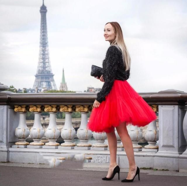 Autumn Chic Bloody Red Color Puffy Tulle Skirts For Women To Christmas Party 5 Layers Tulle And 1 Lining waist Skirt