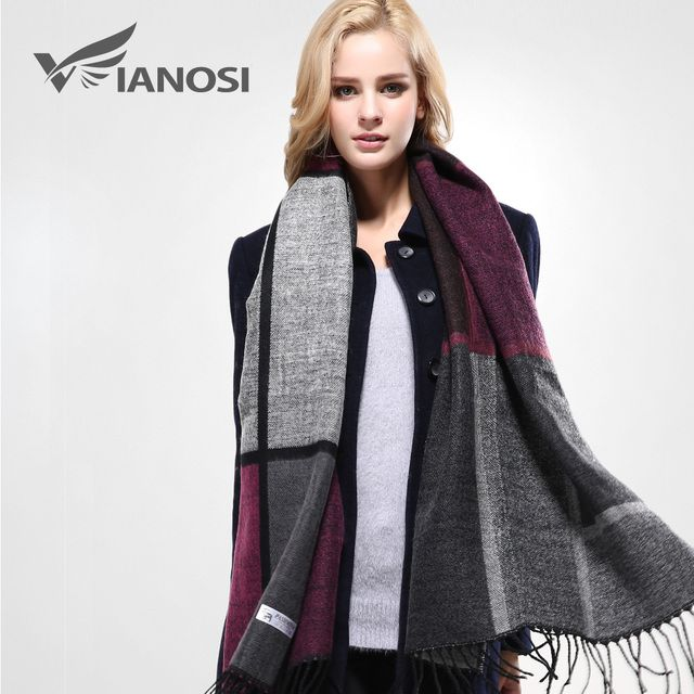 [VIANOSI]  Stylish Warm Blanket Scarf Woman Gorgeous Wrap Long Tassel Plaid Thick Brand Shawls and Scarves for Women VA089