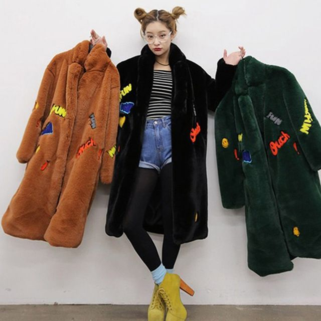 Korea Patch Designs Letter Lapel Hairy Shaggy Faux Rex Rabbit Fur Long Coat Thick Warm Stylish Women Outerwear Top Femme 3 Color