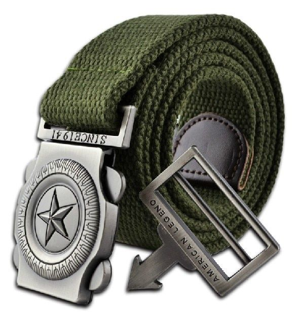 2016 western designer men fashion casual canvas belt high quality knitted Metal Buckle military outdoor belts for men army green