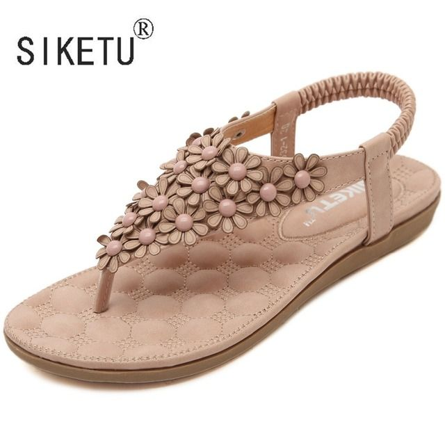 2017 Women Shoes New Fashion Summer Women Sandals Flowers Rhinestones Leisure Beach Shoes 35-41 SIKETU Brand