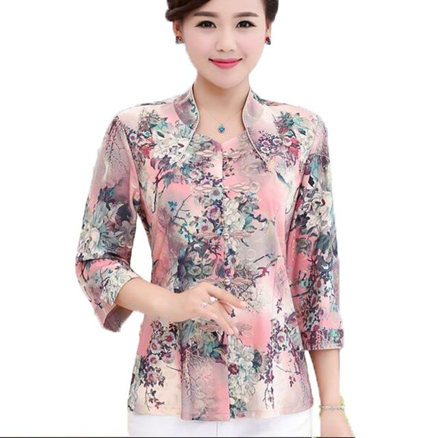 Quinquagenarian shirt plus size female autumn shirts blouses middle aged mother print floral three quarter sleeve shirt top L102