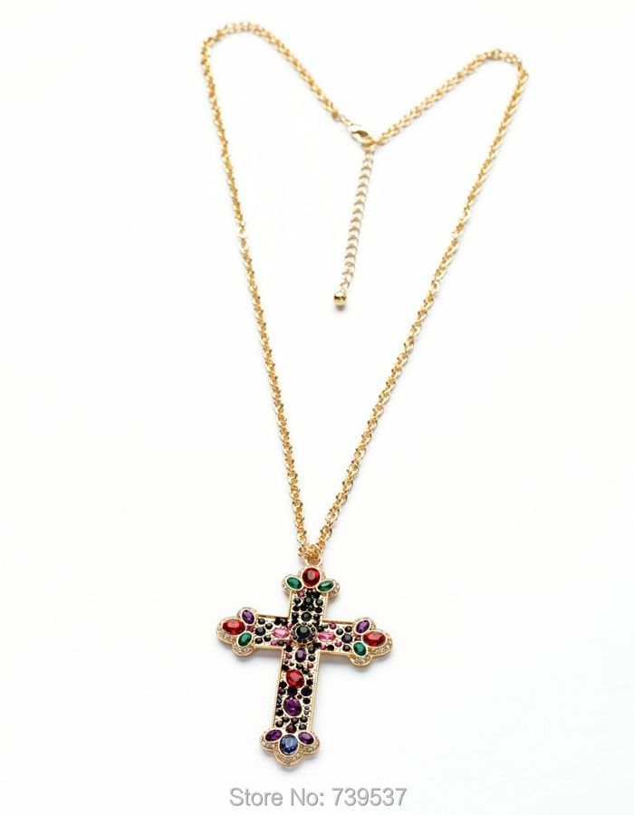 Romantic Style Gold Color Large Colorful Glass Cross Pendant Long Chain Necklace