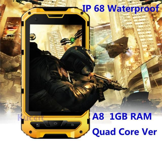IP68 Rugged Android Waterproof Smartphone unlocked cell phone A8 MTK6582 Quad Core 2GB RAM Senior shockproof smartphone 3G GPS