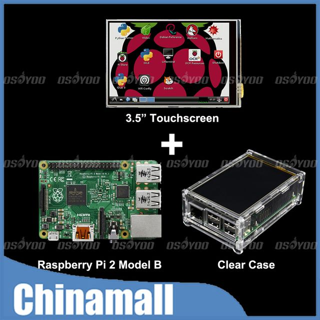 "Raspberry Pi 2 Model B Board + 3.5"" LCD Touch Screen Display with Stylus + Acrylic Case Free Shipping"