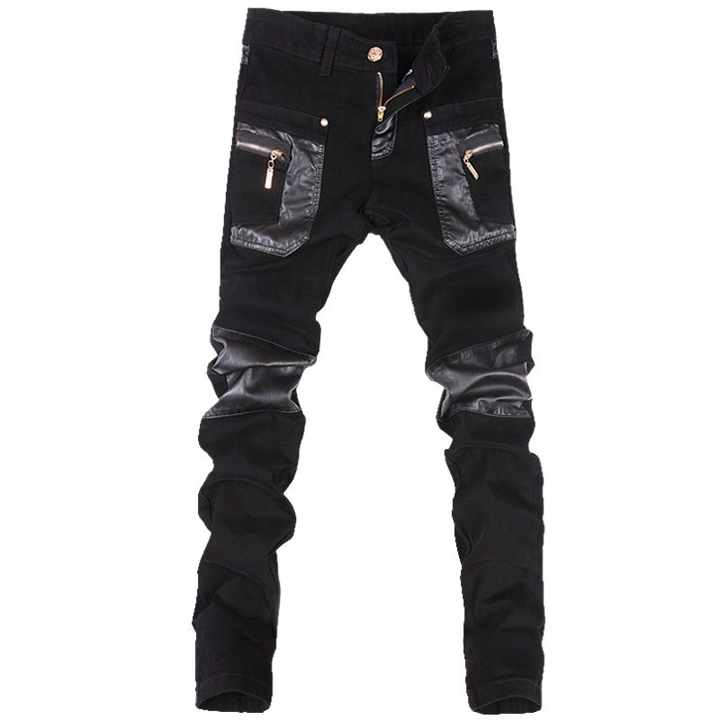 2016 new men's fashion stitching leather pants, boots, pants Korean Slim tight black
