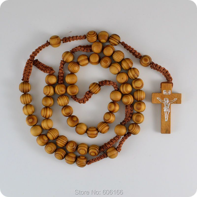 10x NEW Wooden Rosary Beads INRI JESUS Cross Pendant Necklace Catholic Fashion Religious jewelry
